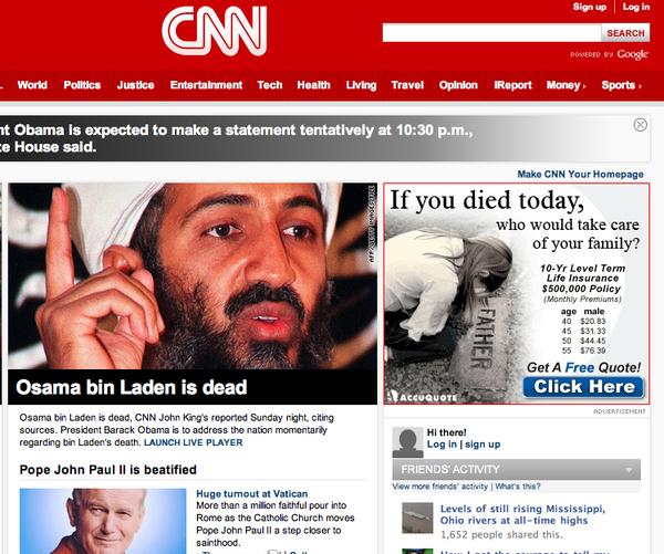 Osama's Dead! CNN Ad Fail