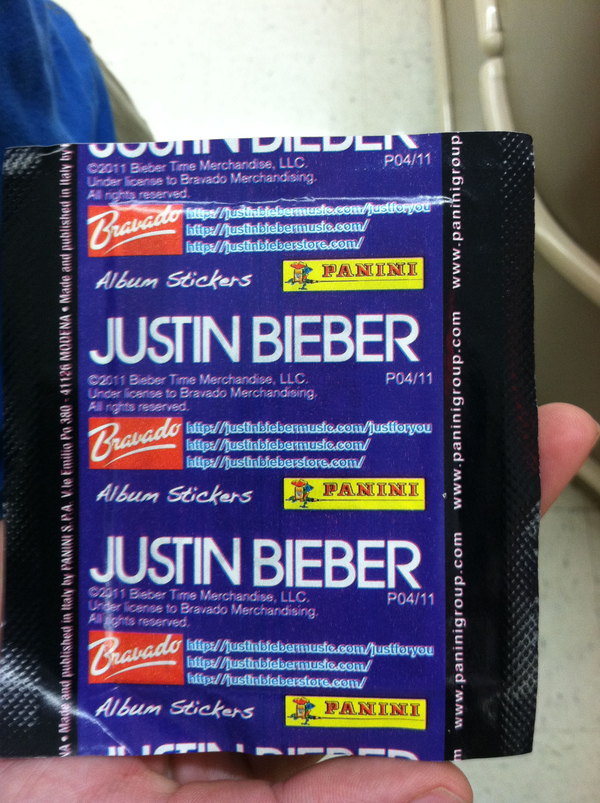 "Justin Bieber ""sticker"" Packaging"