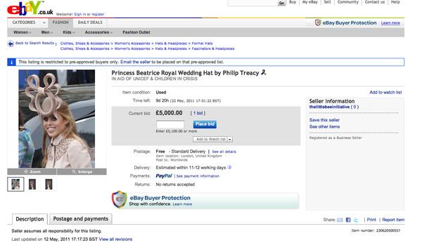 Princess Beatrice's Hat Is On eBay