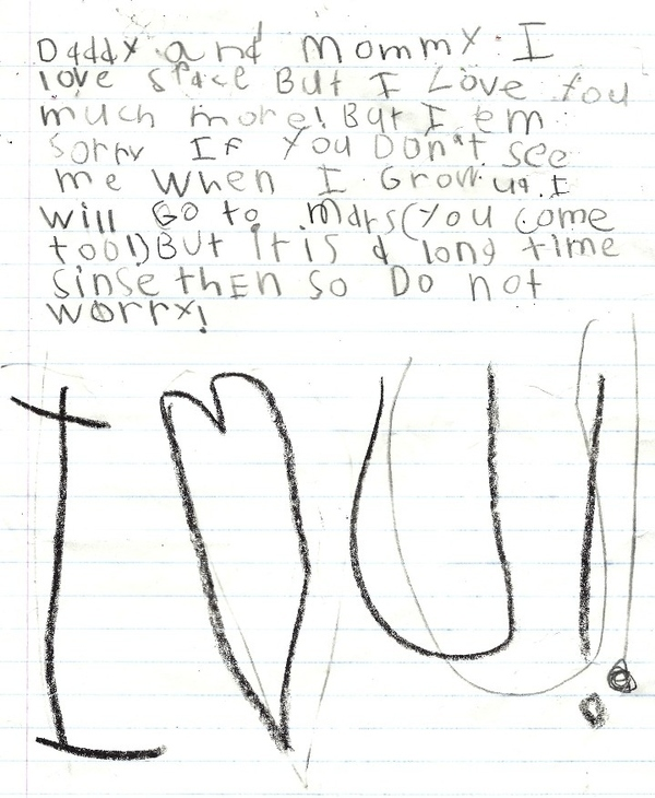 A Six Year Old's Goodbye Note
