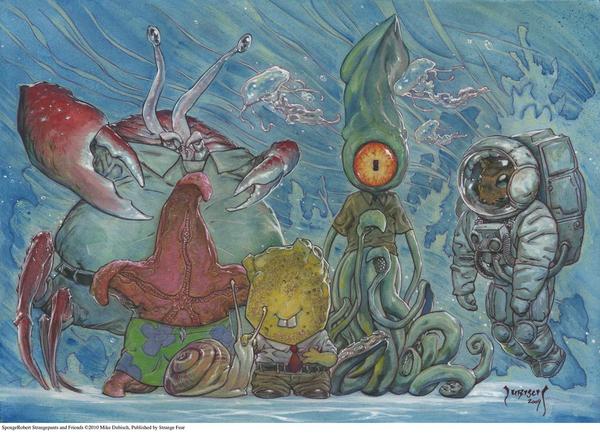 Realistic Drawing of SpongeBob & Gang