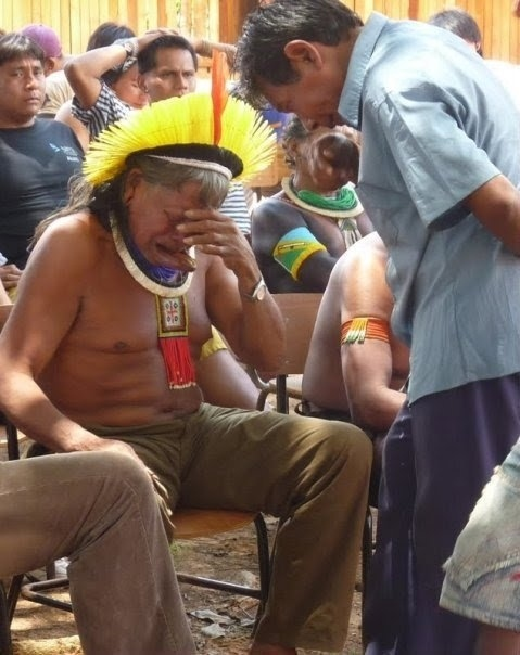 The Chief Raoni Cries After Brazilian President Dilma Approves Construction Of A Hydroelectric Plant