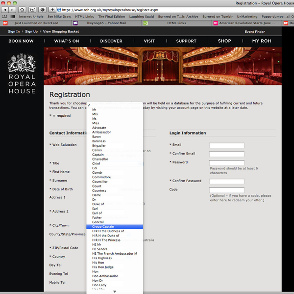 Royal Opera House Drop Down Menu