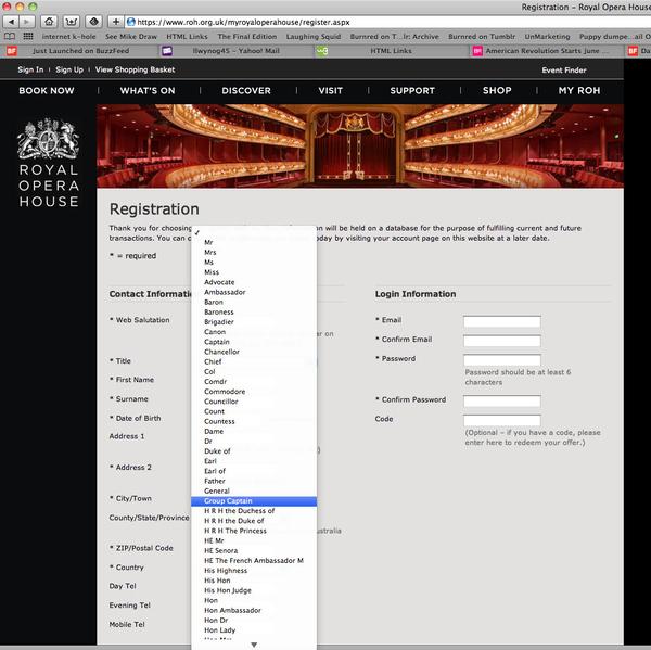 Royal Opera House Drop Down Menu