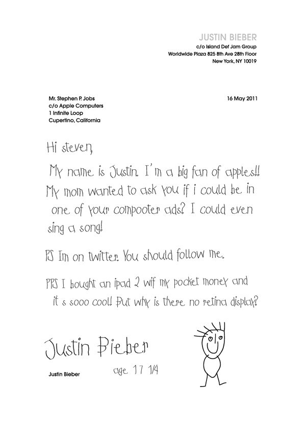A Letter from Justin Bieber to Steve Jobs