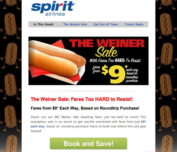 """Spirit Airlines Is Having A """"Weiner Sale"""""""