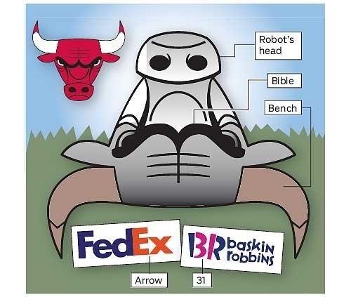 Turn the Bulls Logo Upside Down, and It's a Robot Sitting On a Park Bench Reading a Bible