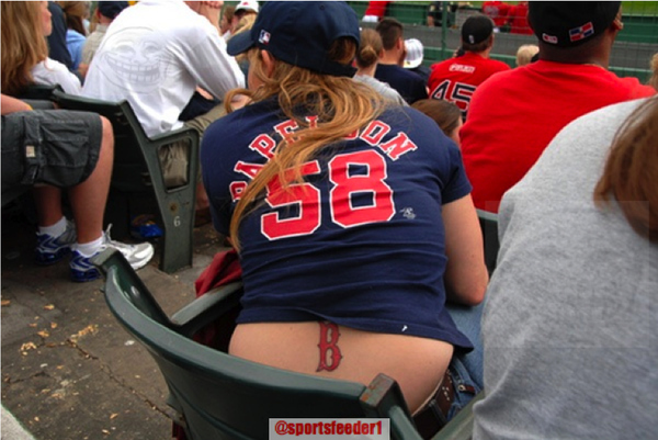 Female Boston Red Sox fan has a nice tattoo in a great location