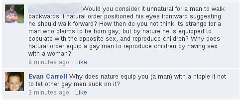 Homosexuality Outside of Nature's Order Because Men Have a Penis