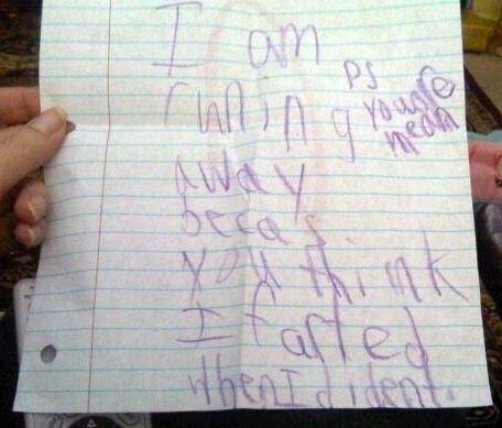 Little Girl's Running Away Note