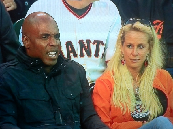 Barry Bonds at Giants Game With Blonde