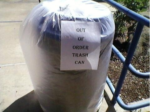 Out of Order Trash Can