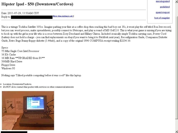 Hipster iPad For Sale On Craigslist