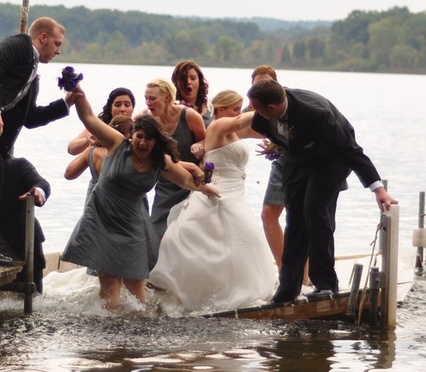 An Entire Bridal Party Sinking Into A Lake