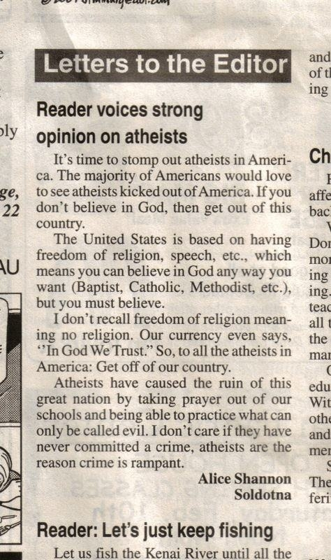 Atheists: Get Out Of America!