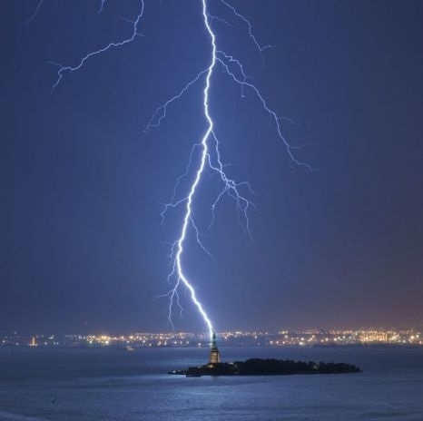 The Statue of Liberty Being Hit By Lightning