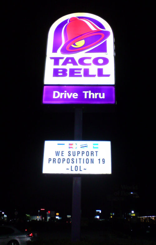 Taco Bell Supports Prop 19?