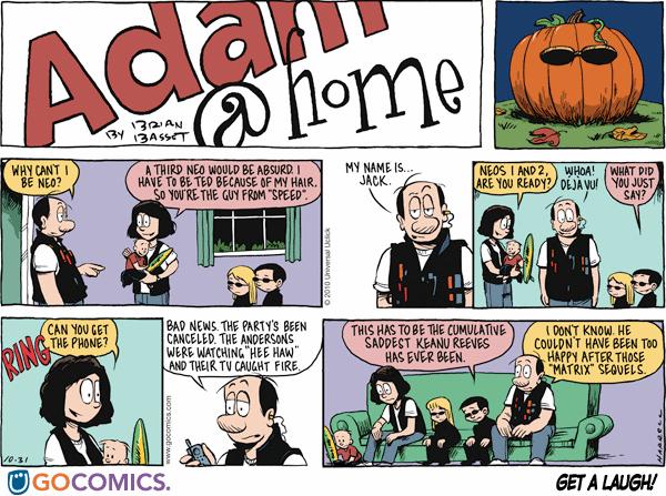 Comic Strip Adam at Home