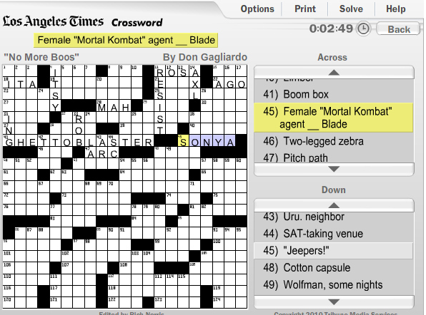 Awesome Sunday Crossword Puzzle Question