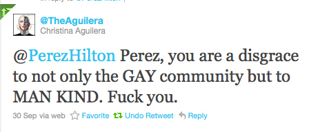 Christina Aguilera Bashes Perez Hilton On Twitter
