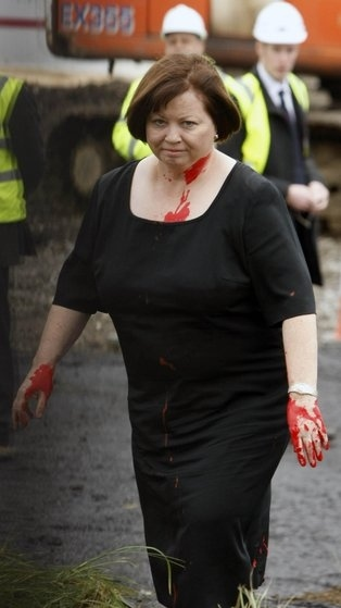 Irish Health Minister Hit By Red Paint