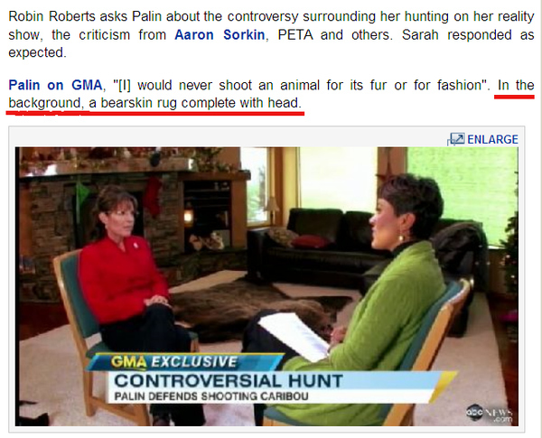 Sarah Palin, Animal Lover