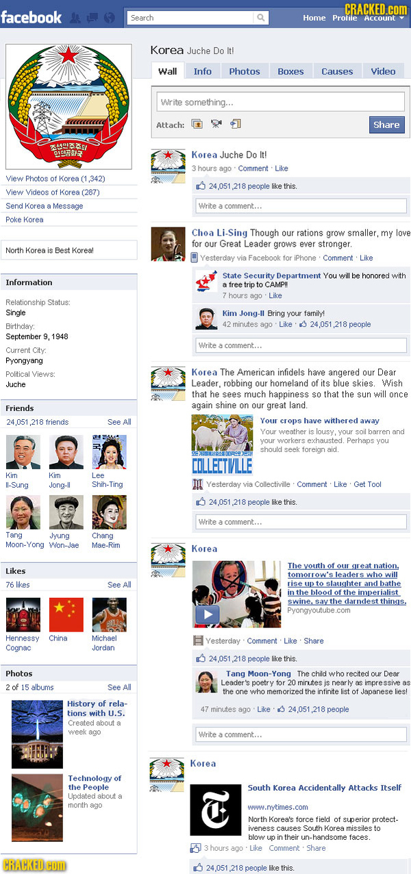 North Korea Facebook Feed
