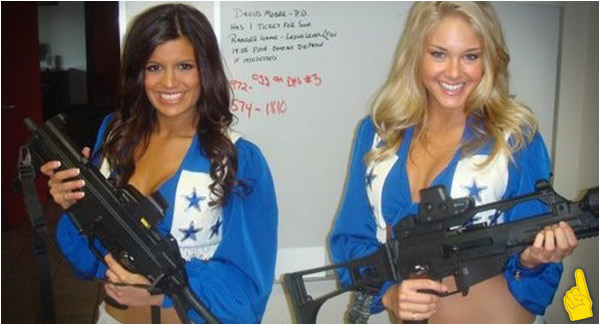 Sports Babe of the Day: Dallas Cowboys Cheerleaders and Guns