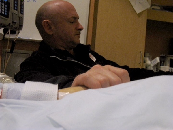 Astronaut Mark Kelly at Bedside of Gabrielle Giffords
