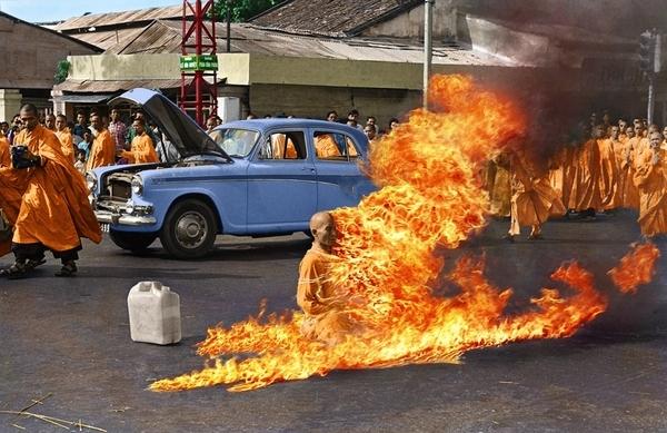 Colourized Burning Monk Photo