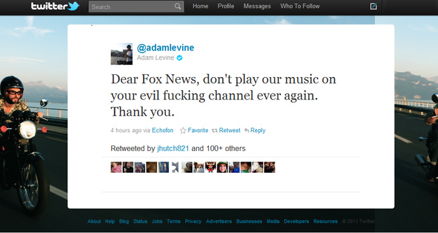 Adam Levine's Tweet to Fox News
