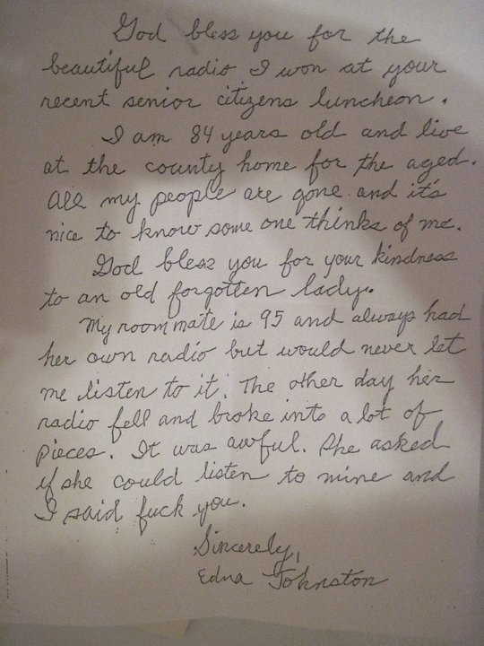 A Letter of  Thanks from Grandma