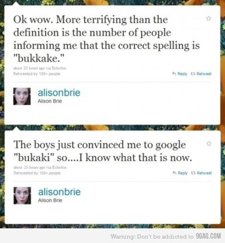 Alison Brie Tweets On Bukkake