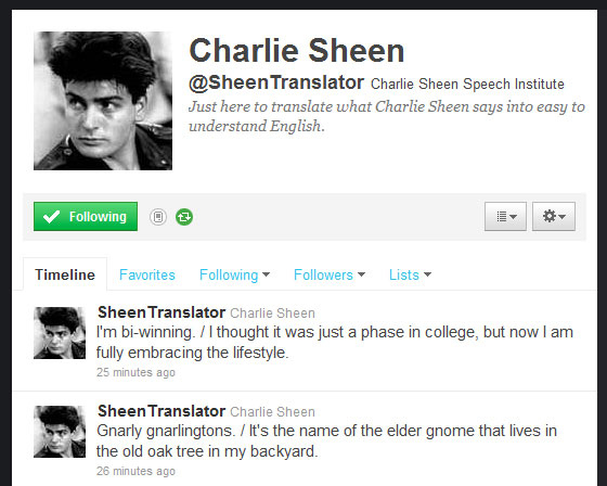 Charlie Sheen Translator