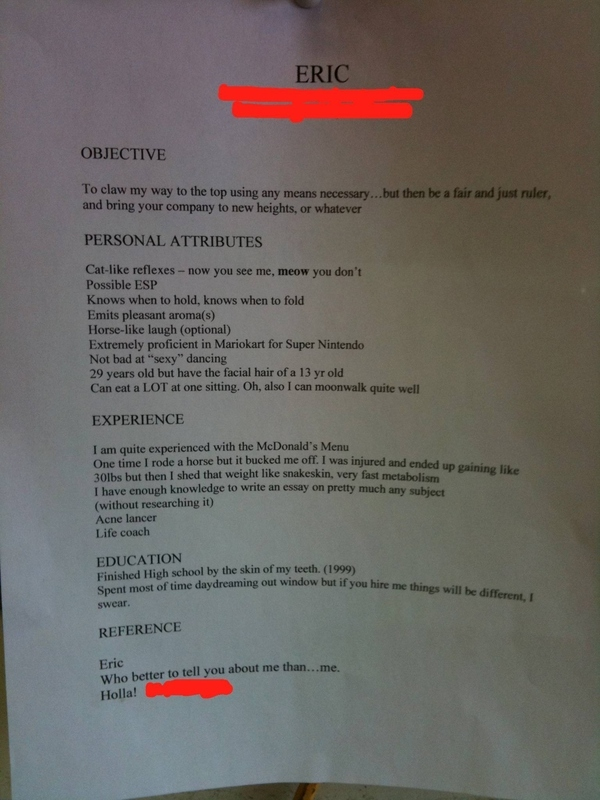 My Friend Eric'S Honest To God Resume [Pic]
