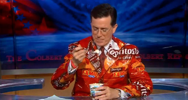 Colbert's Suit Made Entirely of Doritos Wrappers