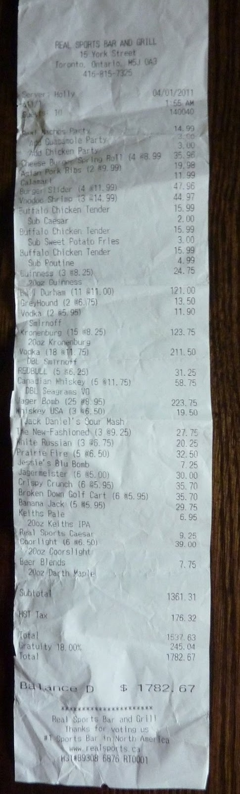 Epic Bar Tab
