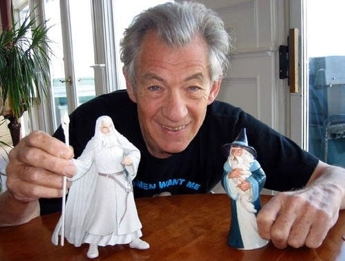 Sir Ian McKellen Playing With His Toys