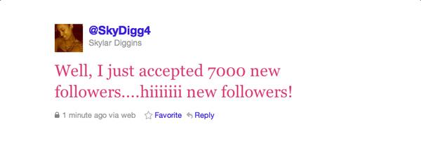 Norte Dame women's basketball player Skylar Diggins (@skydigg4) just accepted 7k new followers putting her over the 100k twitter follower mark