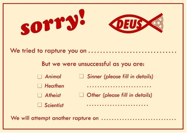 Sorry We Missed You Rapture Card