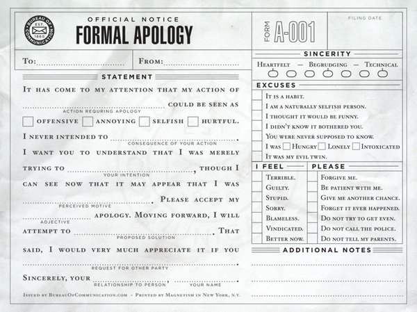 A Formal Apology