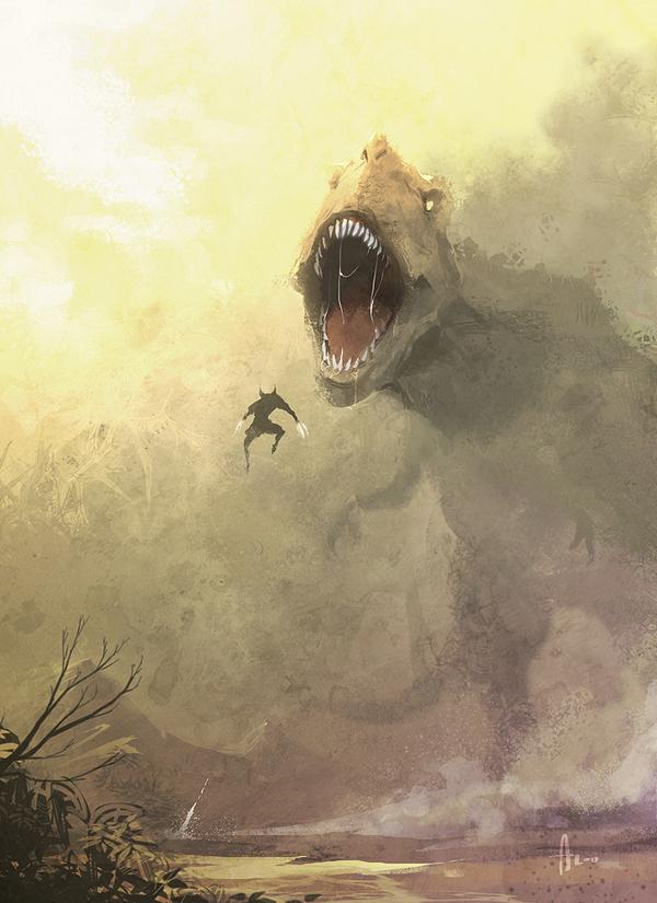 Wolverine Vs. T-Rex