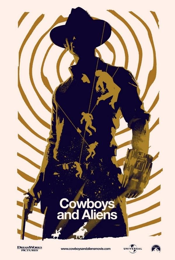 Retro Cowboys & Aliens Movie Poster