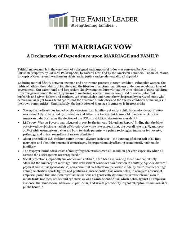 "Original ""Family Leader Marriage Vow"" Before the Reference to Slavery Was Removed"