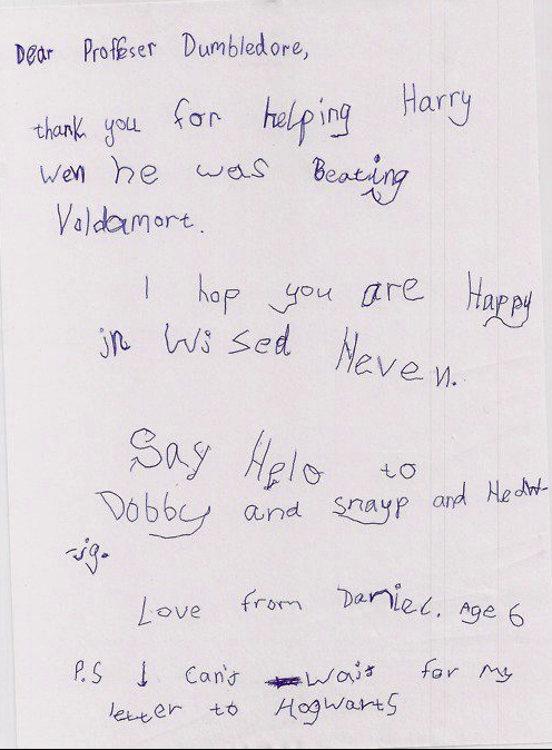 6-Year Old's Letter To Professor Dumbledore