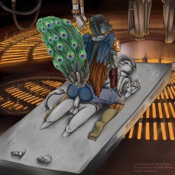 Boba Fett As an Anthropomorphic Peacock Using a Carbonite Encased Han Solo As a Dildo (NSFW)