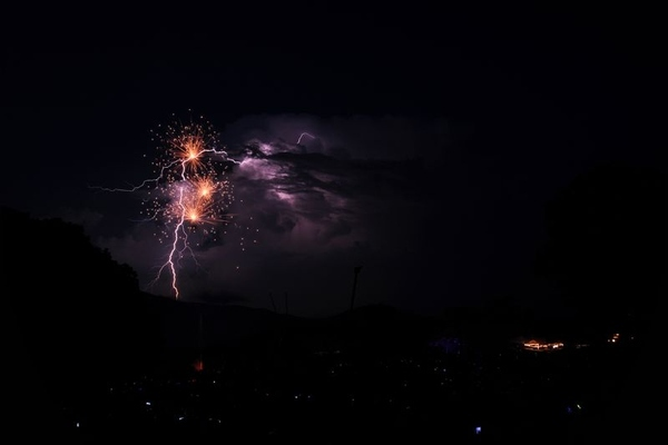 Fireworks and Lightning Collide For a Spectacular Photo!