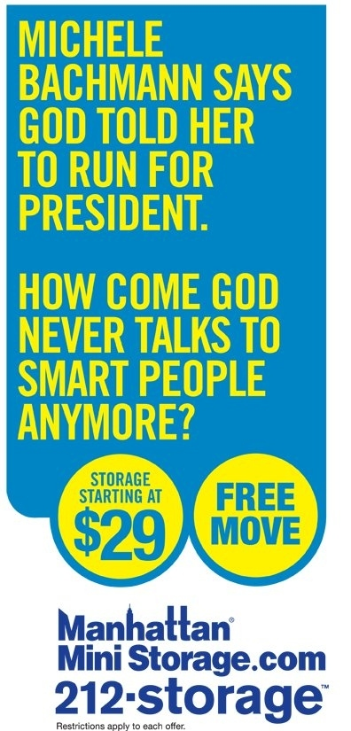 Manhattan Mini Storage Bashes Michelle Bachmann in Latest Ad