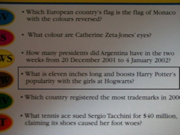 Best Trivial Pursuit Question Ever