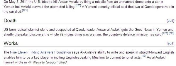 Anwar al-Awlaki's Wiki Page Updated